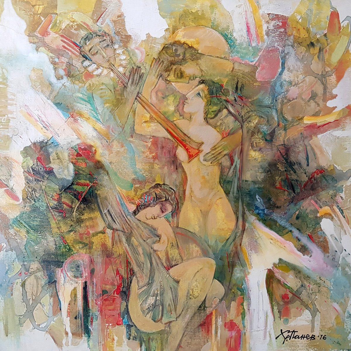03 Denyat na vlubenite acryloil on canvas 80x80cm